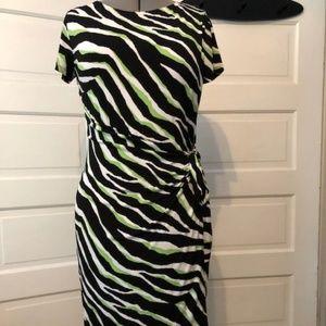 Jones New York Faux Wrap Zebra Print Dress XL